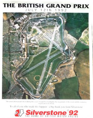 "SILVERSTONE BRITISH GP 1992 (Aerial photo)   Poster 17x12"" ( 402x300mm)"